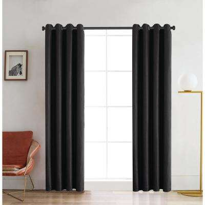 Venus 126 in. L x 52 in. W Blackout Polyester Curtain in Charcoal