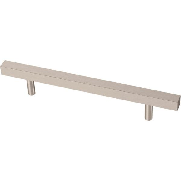Square Bar 5-1/16 in. (128 mm) Satin Nickel Cabinet Drawer Pull
