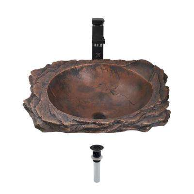 Top-Mount Bathroom Sink in Bronze with 720 Faucet and Grid Drain in Antique Bronze