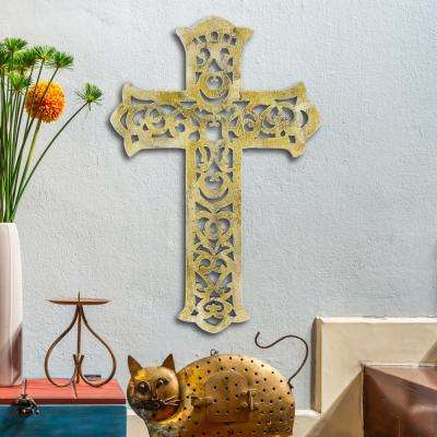 10 in. x 15 in. Worn White Decorative Wooden Wall Cross