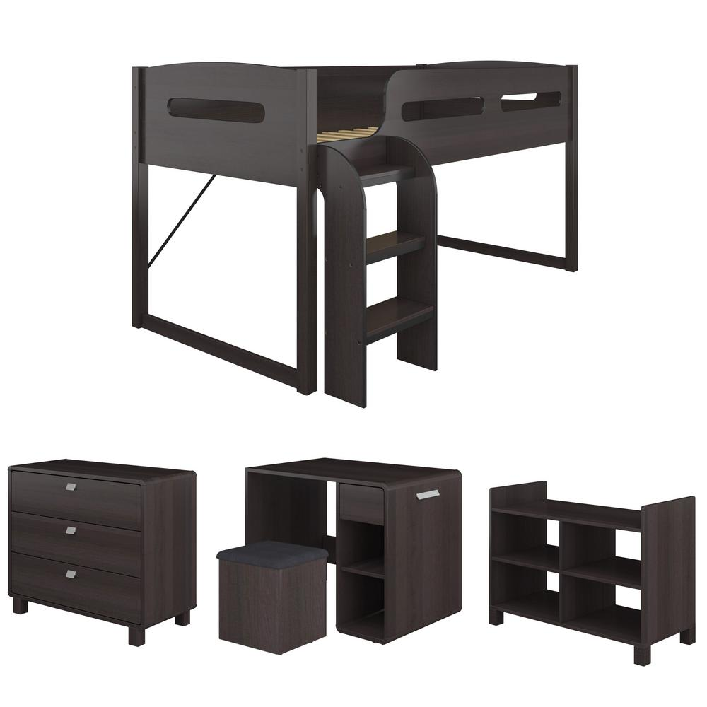 Madison 5 Piece All-in-One Single/Twin Loft Bed in Rich Espresso