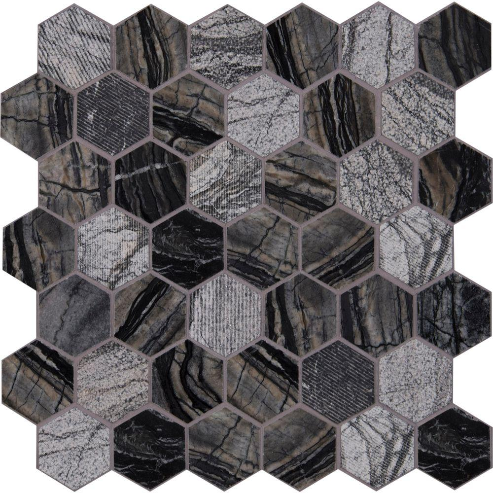MS International Henley Hexagon 12 in. x 12 in. x 10 mm Natural Marble Mesh-Mounted Mosaic Floor and Wall Tile