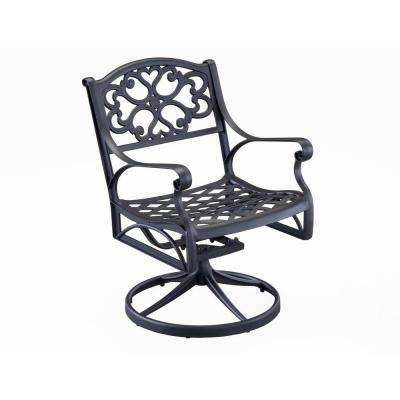 Biscayne Black Swivel Patio Dining Chair