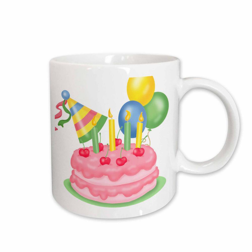 3dRose TNMGraphics Birthdays Cherry Birthday Cake With Balloons And Hat 11 Oz White Ceramic Coffee Mug 165506 1