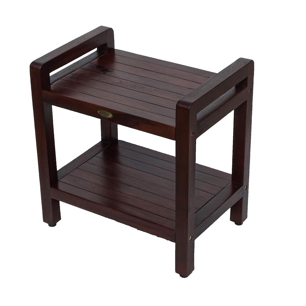 DecoTeak Classic 20 in. Teak Shower Stool with LiftAide Arms and Shelf