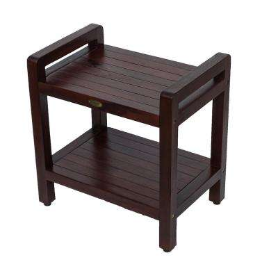 Classic 20 in. Teak Shower Stool with LiftAide Arms and Shelf