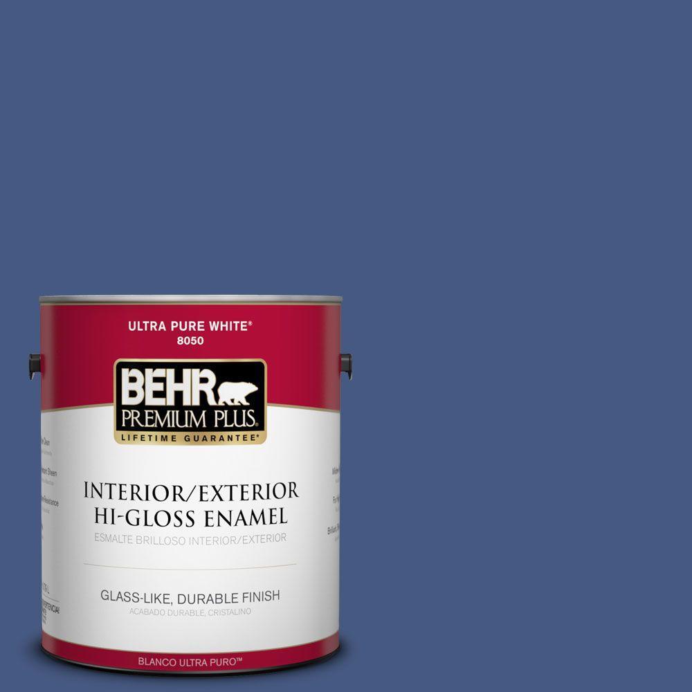 BEHR Premium Plus 1-gal. #M540-7 Optimum Blue Hi-Gloss Enamel Interior/Exterior Paint