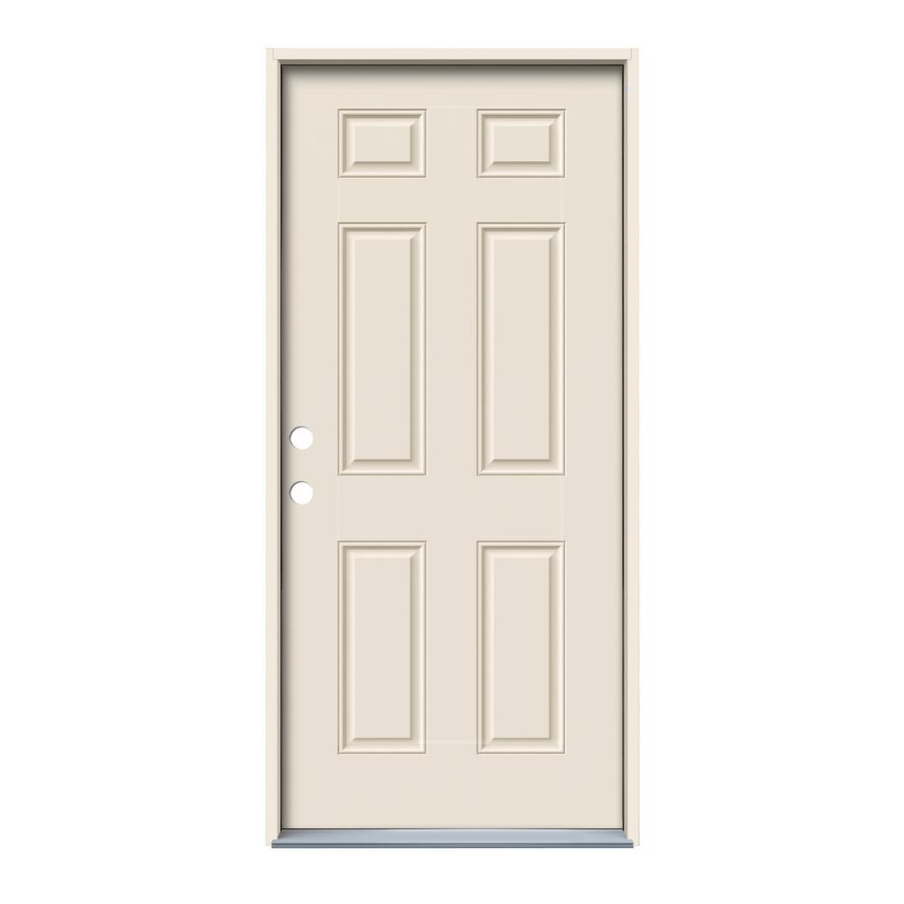 36 in. x 80 in. 6-Panel Primed Fiberglass Prehung Right-Hand Inswing