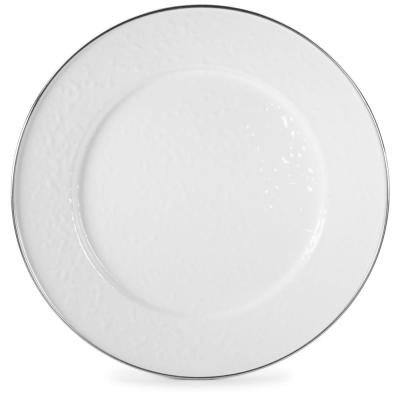 12.5 in. Solid White Enamelware Round Charger Plate Set of 2