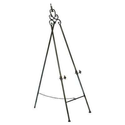 58 in. Black and Silver Painted Floor Easel with Adjustable Brackets and Fleur-de-Lis Accents