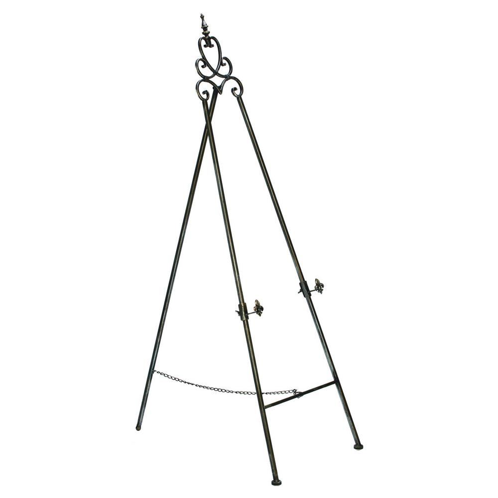 58 in. Black and Silver Painted Floor Easel with Adjustable Brackets