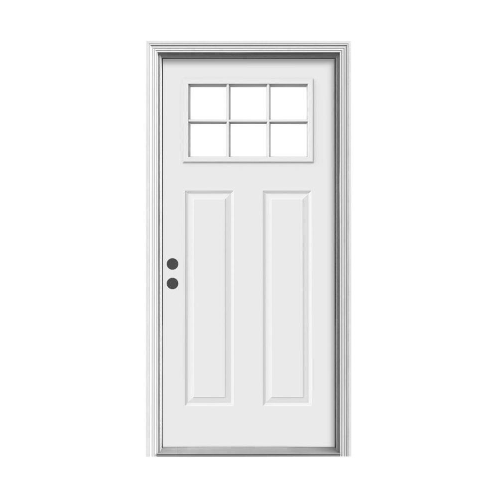 JELD-WEN 30 in. x 80 in. 6 Lite Craftsman Primed Steel Prehung Right-Hand Inswing Front Door w/Brickmould