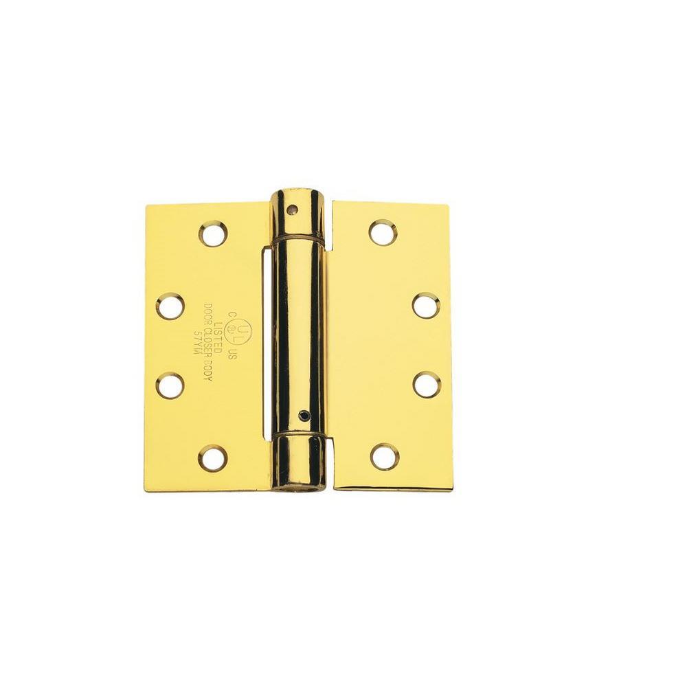 4.0 in. x 4.0 in. Bright Brass Steel Spring Hinge (Set