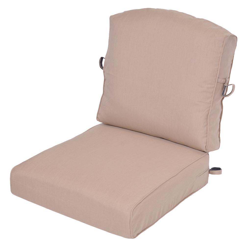 Sunbrella Spectrum Sand 2-Piece Deep Seating Outdoor Lounge Chair Cushion (2-Pack)