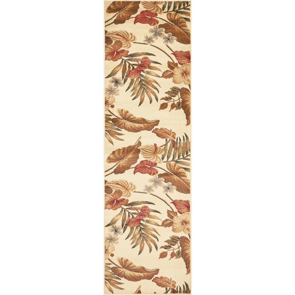 Kas Rugs Tropic Sun Ivory 2 ft. x 8 ft. Runner Rug The Kas Rugs 2 ft. x 8 ft. Runner adds style and warmth to any room. This runner is great to use in your hall or as an accent at the end of your bed. This runner is made with stain-resistant fabrics and has fade-resistant materials. It has an oriental motif, which brings in an elaborate ambiance to your home design with a classic elegance. Designed with ivory features, it will tone down your decor. It has a 100% polypropylene construction, making it a long-lasting option for any living space.