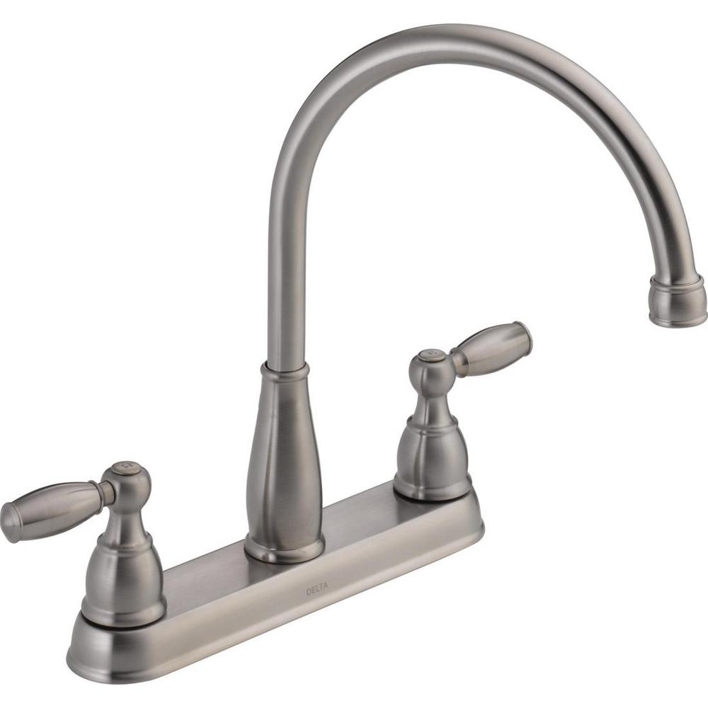 Delta Foundations 2-Handle Standard Kitchen Faucet in Stainless