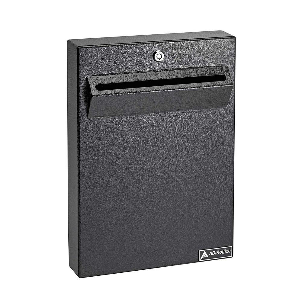 AdirOffice Black Large Wall Mounted Weatherproof Steel Drop Box