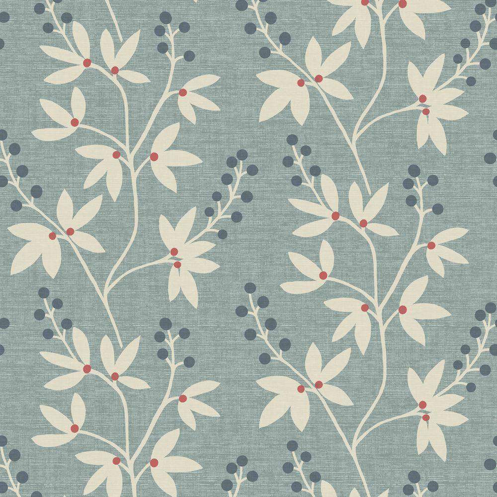 Currant Blue Botanical Trail Wallpaper