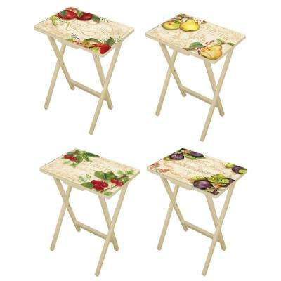 Country Kitchen Multi-Colored TV Tray with Stand (Set of 4)