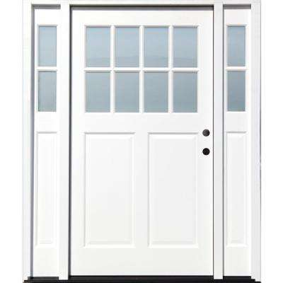 Cottage 65 in. x 80 in. White Left Hand Inswing Clear 8-Lite 2-Panel Painted Wood Prehung Entry Door with 9 in. Sidelite