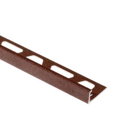 Jolly Rustic Brown Textured Color-Coated Aluminum 3/8 in. x 8 ft. 2-1/2 in. Metal Tile Edging Trim