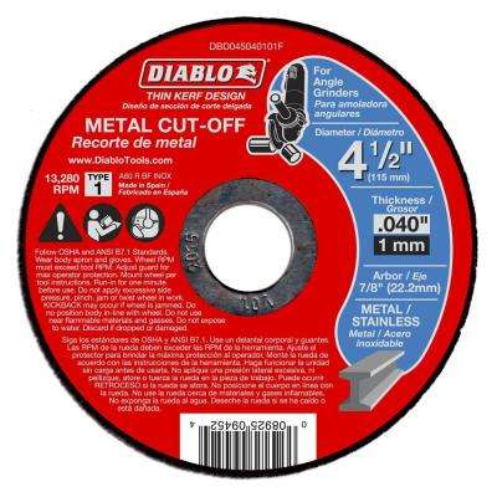 4-1/2 in. x 0.040 in. x 7/8 in. Thin Kerf Metal Cut-Off Disc (25-Pack)
