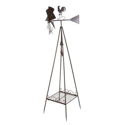 70 in. Metal Windmill Weathervane and Plant Stand
