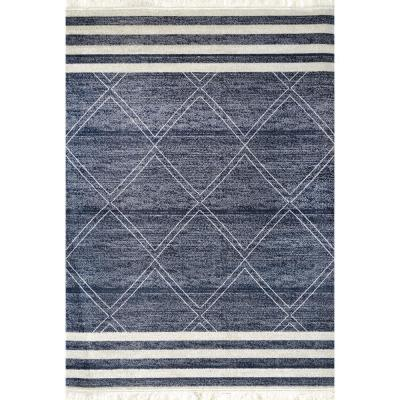 Roberge Coastal Diamond Striped Blue 7 ft. x 9 ft. Indoor/Outdoor Area Rug