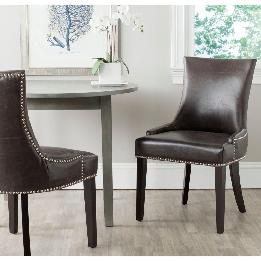 Safavieh Leather Dining Chairs: Safavieh Lester Antique Brown Bonded Leather Dining Chair
