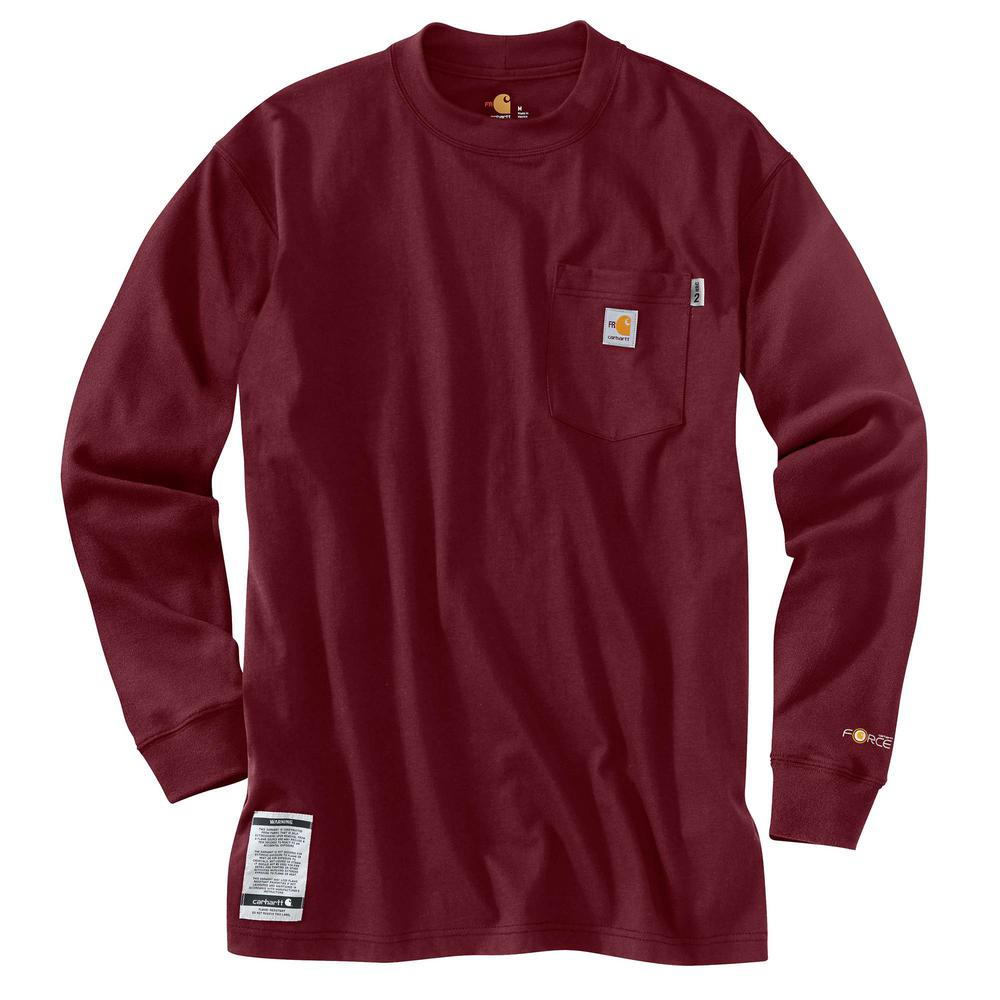 Carhartt Men S Tall X Large Dark Crimson Fr Force Cotton Long Sleeve
