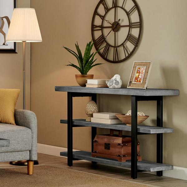 Alaterre Furniture Pomona 48 In Slate Gray Black Standard Rectangle Wood Console Table With Storage Amba10sg The Home Depot