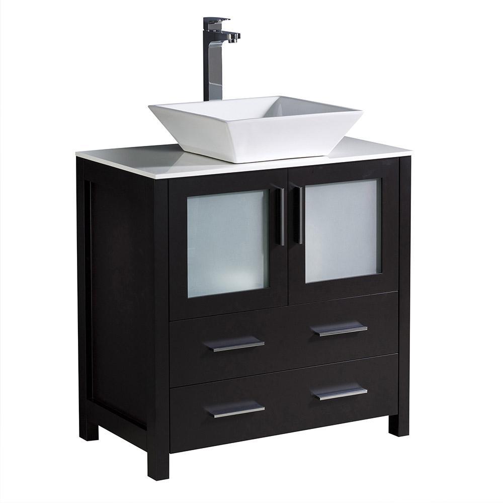 Torino 30 in. Bath Vanity in Espresso with Glass Stone Vanity