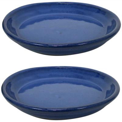 11.75 in. Imperial Blue Ceramic Planter Saucer (Set of 2)