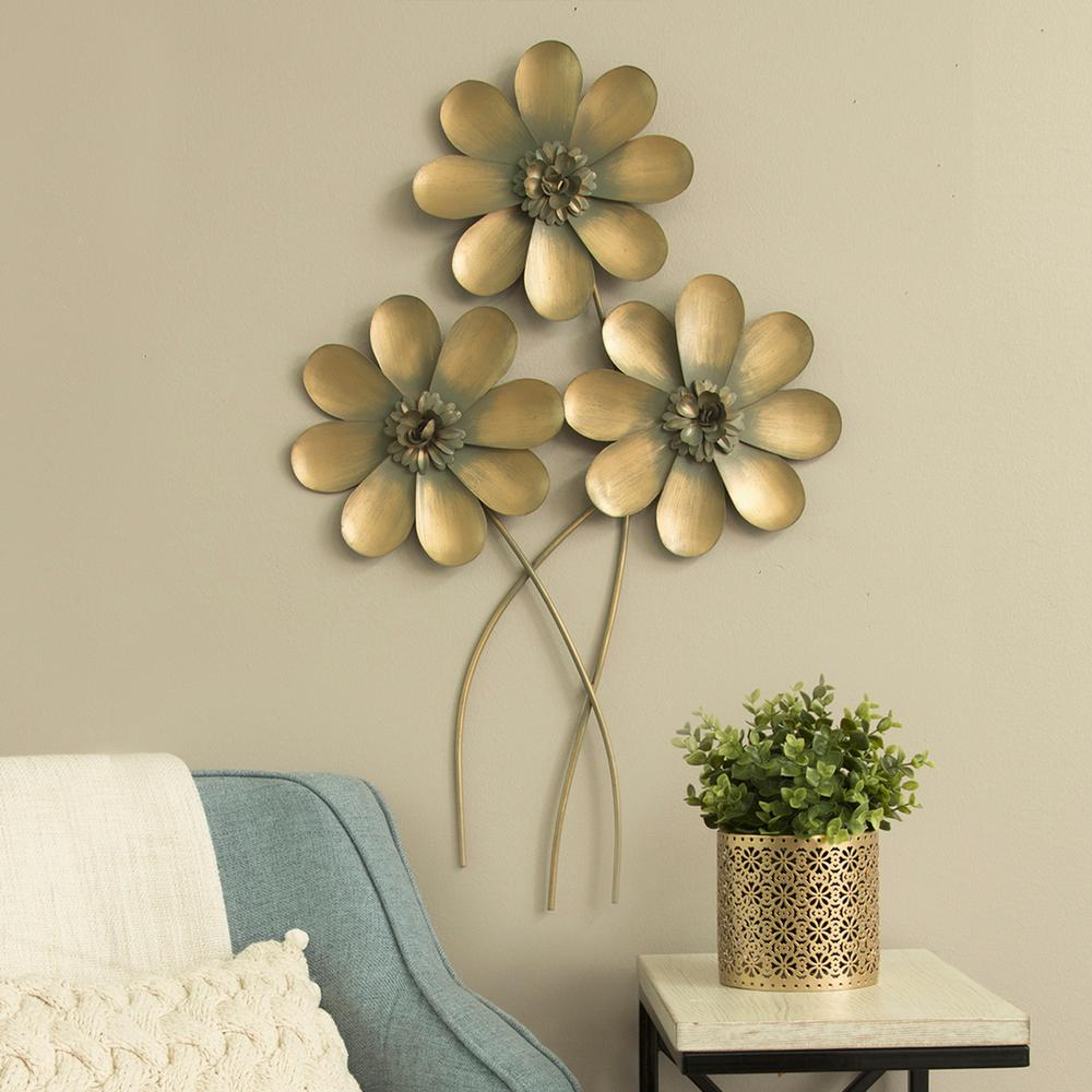 Stratton Home Decor Golden Metal Flower Bouquet Wall Decor-S09570 ...