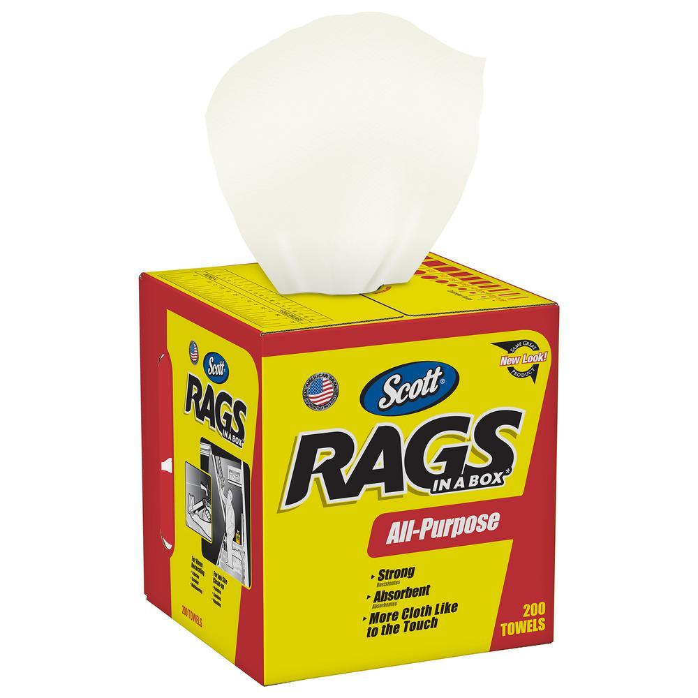 Rags in A Box in White (200-Shop Towels per Box)