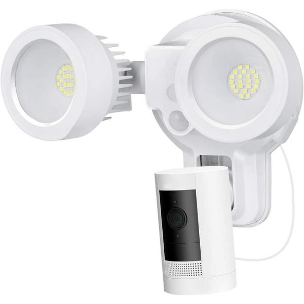 3-in-1 Floodlight, Charger and Mount for Ring Stick Up Cam and Spotlight Cam Battery (White) (Camera Not Included)