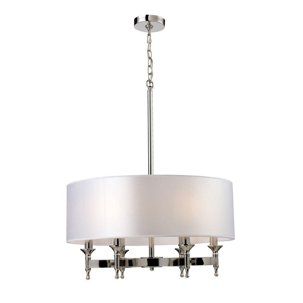 An Lighting Pembroke 6 Light Polished Nickel Chandelier With Silver Fabric Shade