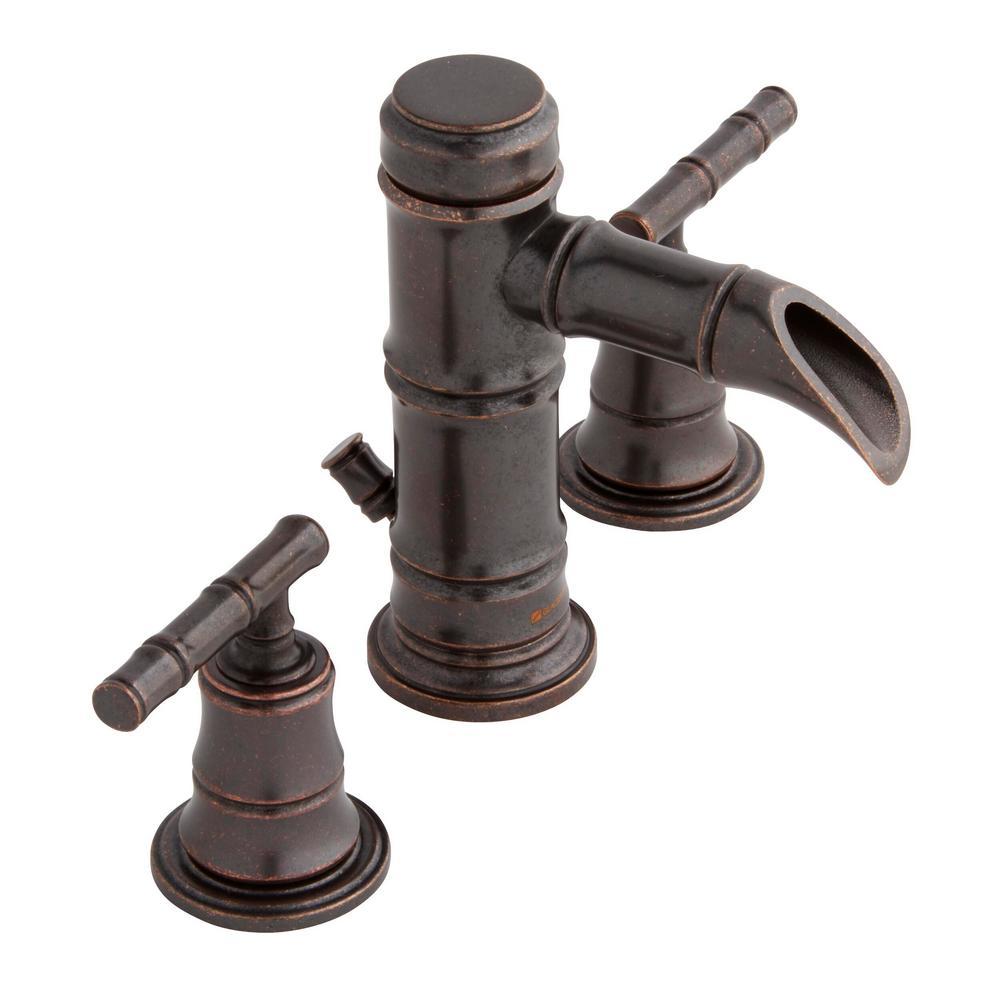 Bamboo 8 in. Widespread 2-Handle Low-Arc Bathroom Faucet in Bronze