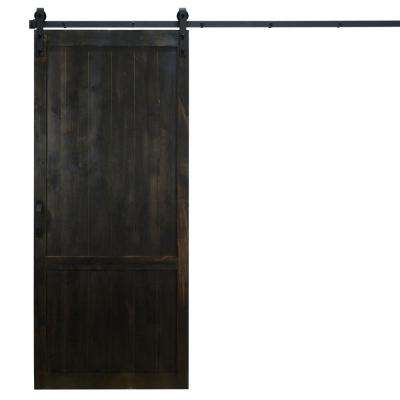 36 in. x 84 in. Country Vintage Midnight Black Alder Wood Interior Barn Door Slab with Sliding Door Hardware Kit