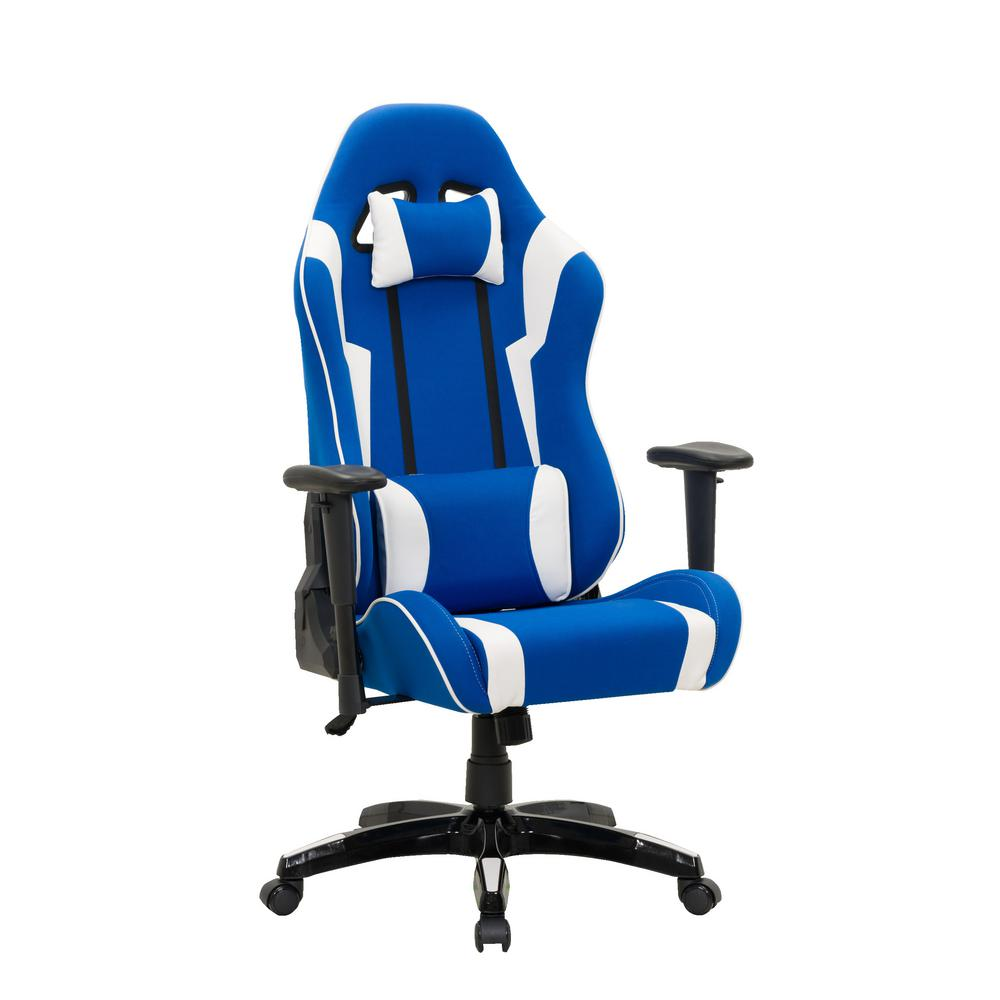 Corliving Blue And White High Back Ergonomic Office Gaming Chair