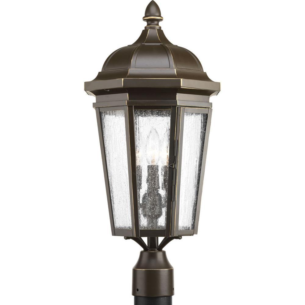 Verdae Collection 3-Light Outdoor Antique Bronze Post Lantern