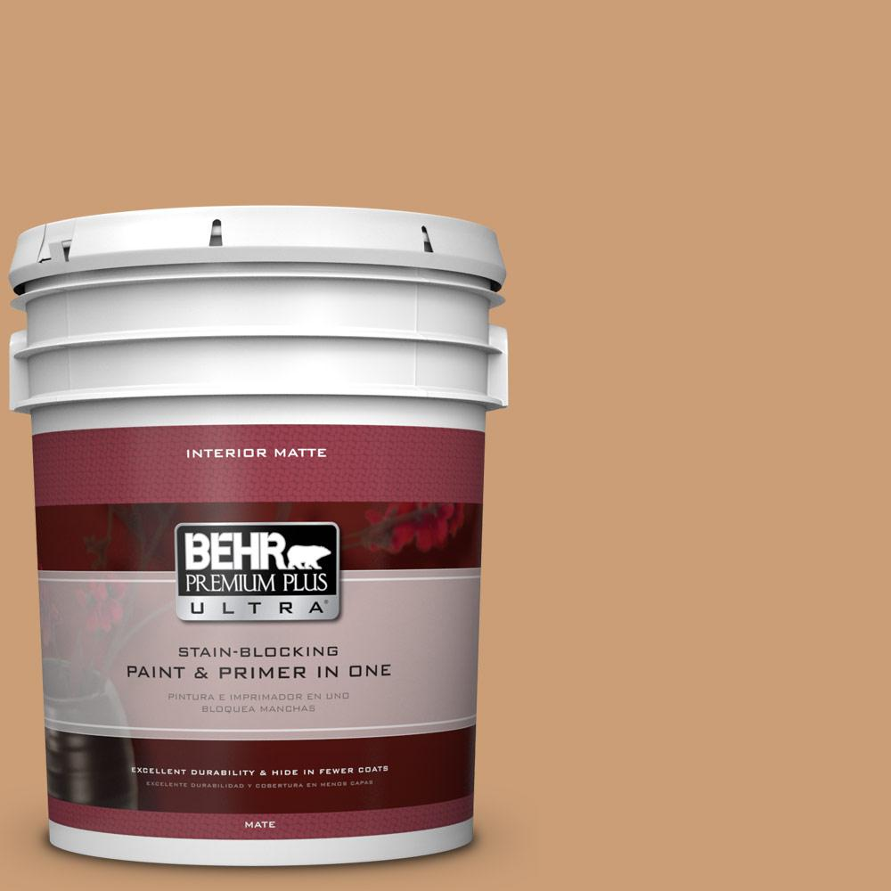 BEHR Premium Plus Ultra 5 gal. #ICC-62 Pumpkin Butter Flat/Matte Interior Paint