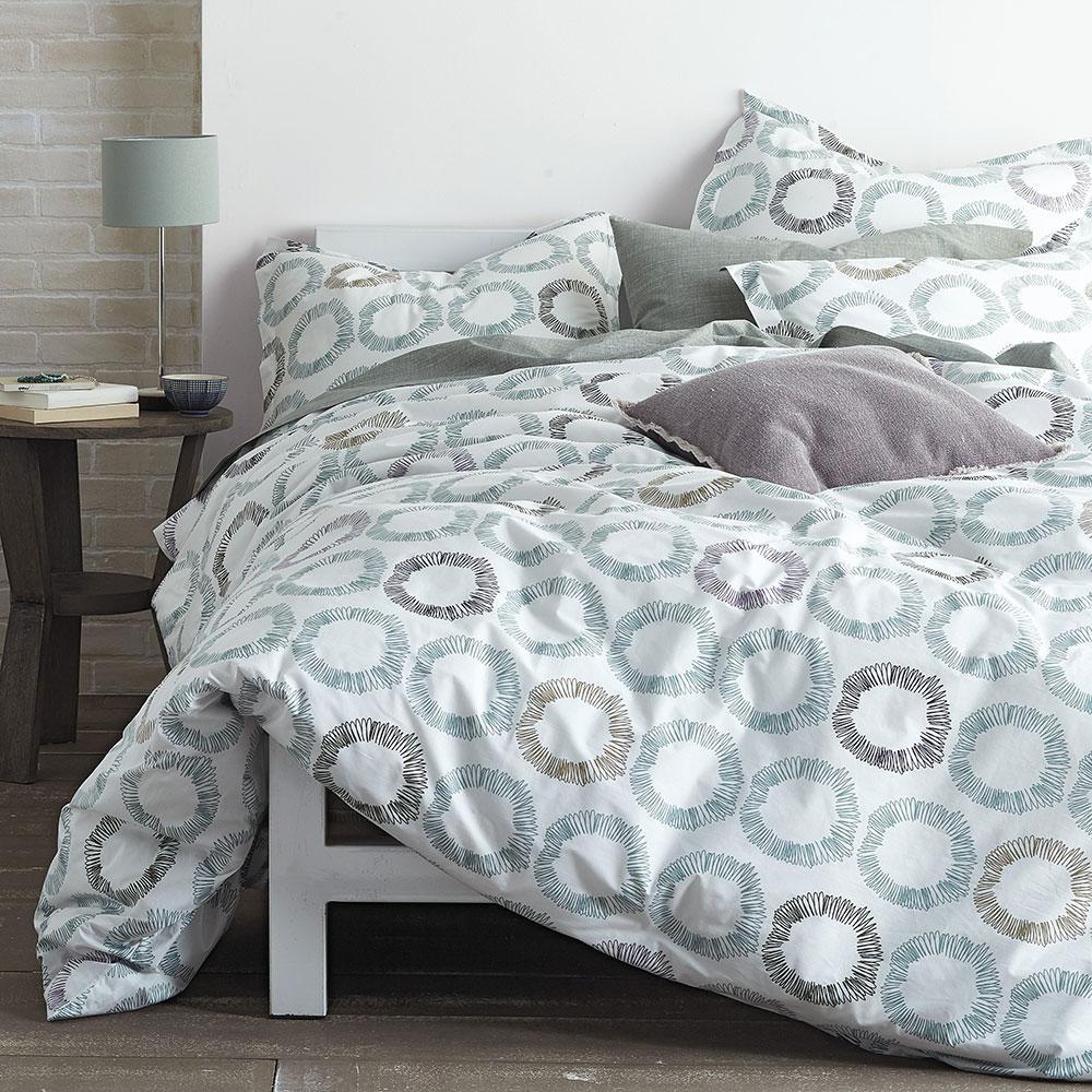 Curlique Multicolored Geometric Organic Cotton Percale Queen Duvet Cover