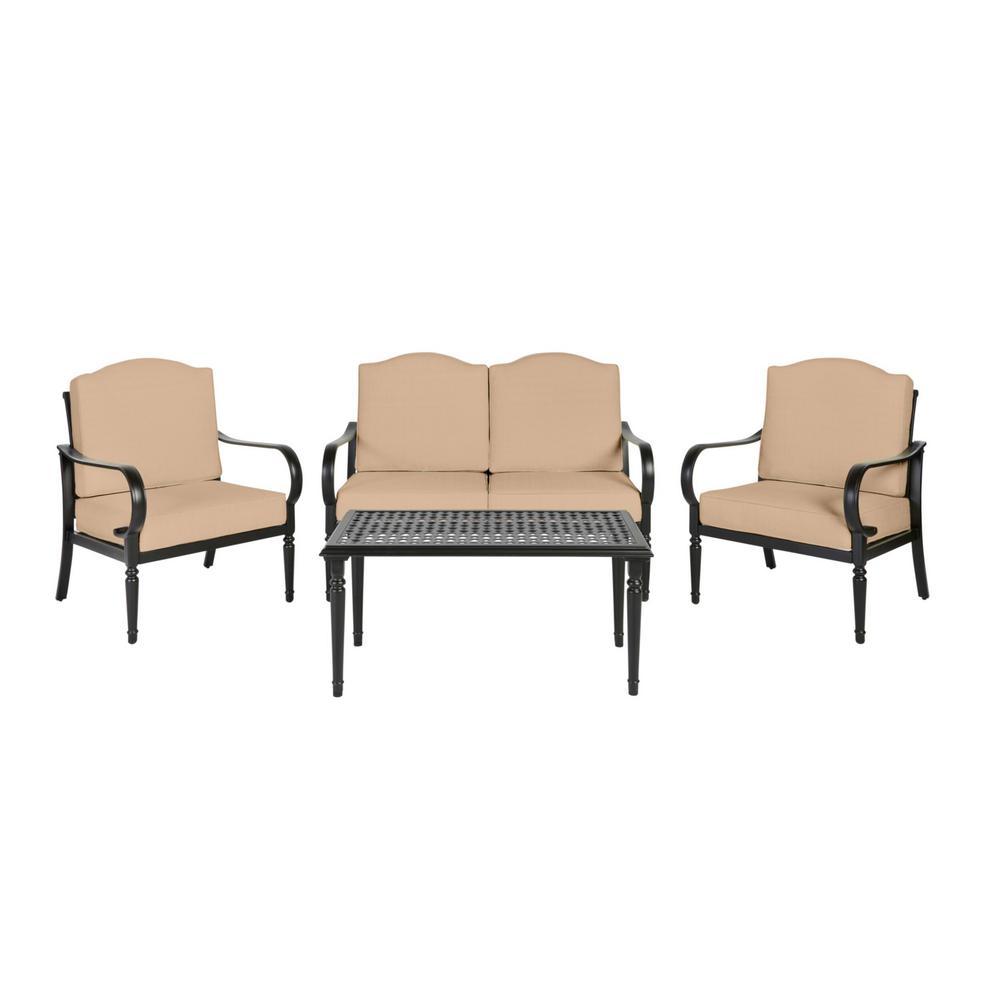 Hampton Bay Laurel Oaks Brown 4 Piece Steel Outdoor Patio Conversation Seating Set With