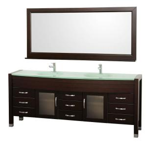 Wyndham Collection Daytona 78 inch Vanity in Espresso with Double Basin Glass Vanity Top in Aqua and Mirror by Wyndham Collection