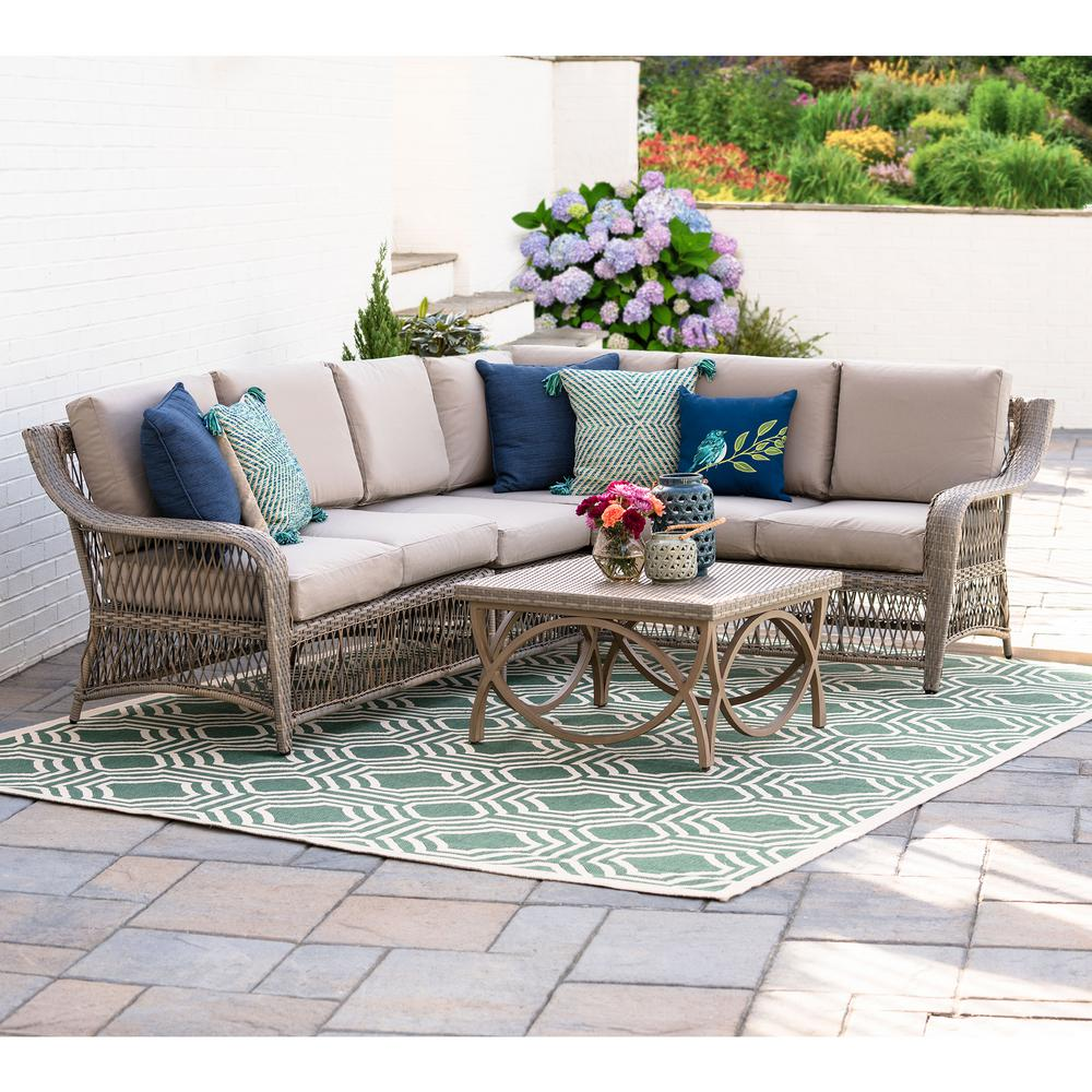 Merveilleux Leisure Made Birmingham 5 Piece Wicker Outdoor Sectional Set With Tan  Cushions