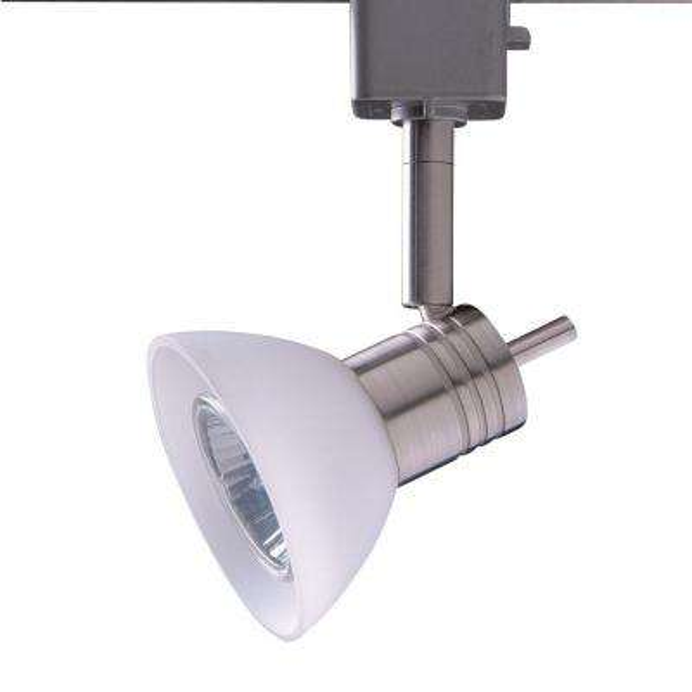 Series 10 Line-Voltage GU-10 Satin Nickel Track Lighting Fixture with White Glass Shade
