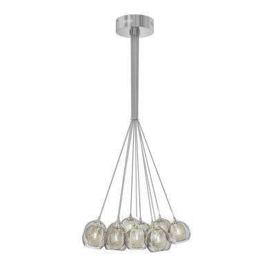 Mood 12-Light Satin Nickel Chandelier with Stainless Steel Mesh and Glass Globe
