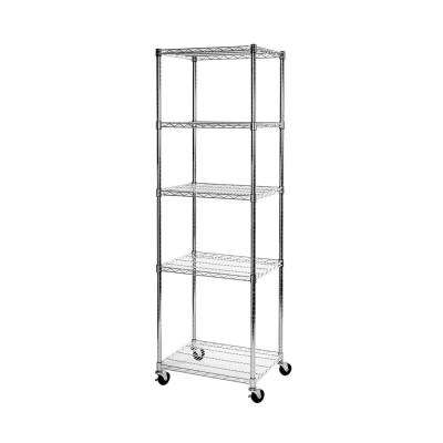 24 in W x 18 in D x 72 in H UltraDurable Commercial-Grade 5-Tier NSF-Certified Steel Wire Shelving with Wheels
