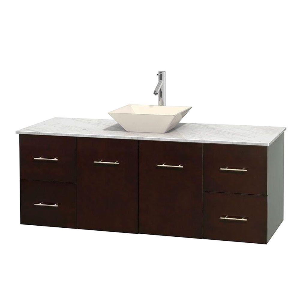Wyndham Collection Centra 60 in. Vanity in Espresso with Marble Vanity Top in Carrara White and Bone Porcelain Sink